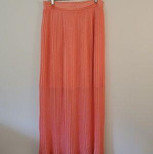 WHBM pink accordion long maxi skirt medium